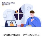 sahur or iftar together with... | Shutterstock .eps vector #1942222213