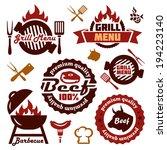 illustration grill menu labels... | Shutterstock .eps vector #194223140
