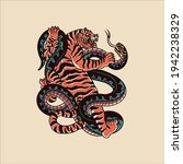 tiger and snake tattoo vector... | Shutterstock .eps vector #1942238329