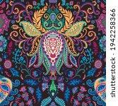 psychedelic floral design ... | Shutterstock .eps vector #1942258366