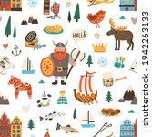 seamless swedish pattern with...   Shutterstock .eps vector #1942263133