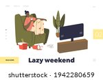 lazy weekend concept of landing ... | Shutterstock .eps vector #1942280659