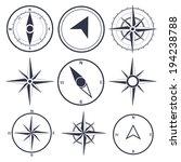 wind rose compass flat vector... | Shutterstock .eps vector #194238788