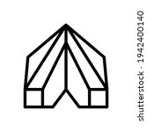 tent icon line style vector for ...
