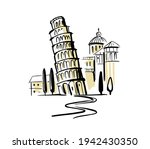 leaning tower of pisa. italy...   Shutterstock .eps vector #1942430350
