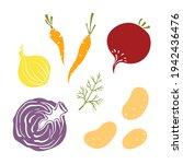 onion  carrots  beetroot ... | Shutterstock .eps vector #1942436476