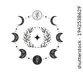 hand drawn black celestial... | Shutterstock .eps vector #1942538629