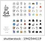 64 workspace icons set vector...   Shutterstock .eps vector #1942544119