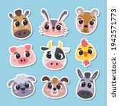animal stickers in cartoon...   Shutterstock .eps vector #1942571773