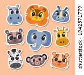 animal stickers in cartoon...   Shutterstock .eps vector #1942571779