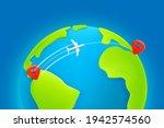 jetliner flight trajectory from ... | Shutterstock .eps vector #1942574560