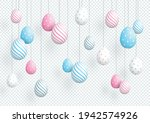 easter eggs colorful hanging 3d ... | Shutterstock .eps vector #1942574926