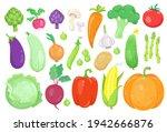 big set of colorful vegetables. ... | Shutterstock .eps vector #1942666876