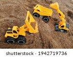 Yellow Dumper  Excavator And...