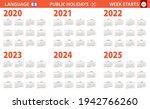 2020 2025 year calendar in...   Shutterstock .eps vector #1942766260