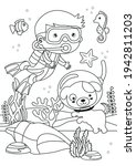 Boy And Dog Diving Coloring...