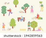 in the park where trees are...   Shutterstock .eps vector #1942859563