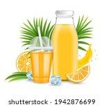 orange juice glass bottle ... | Shutterstock .eps vector #1942876699