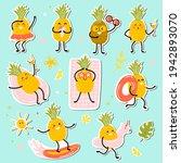 kawaii pineapples stickers.... | Shutterstock .eps vector #1942893070