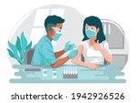 doctor injecting coronavirus... | Shutterstock .eps vector #1942926526