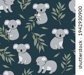 seamless pattern of koalas... | Shutterstock .eps vector #1942930900