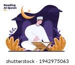 muslim man reading holy quran... | Shutterstock .eps vector #1942975063
