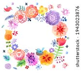 watercolor floral wreath with... | Shutterstock . vector #1943023876
