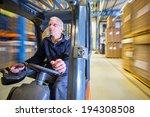 reach truck forklift driving... | Shutterstock . vector #194308508