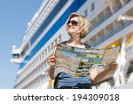 woman tourist on shore with a... | Shutterstock . vector #194309018