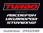 turbo font. heavy italic... | Shutterstock .eps vector #1943225389