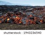 Fiery Flowing Lava. Volcano...