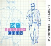hand drawing of a stylish boy... | Shutterstock .eps vector #194325149