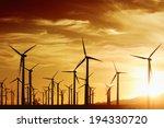 Wind Turbines In Golden Sunset...