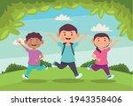 three kids in the field   Shutterstock .eps vector #1943358406