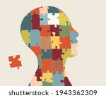 autism syndrome concept. jigsaw ...   Shutterstock .eps vector #1943362309