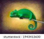 Chameleon Oil Painted Portrait  ...