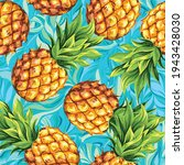 ripe pineapples on a background ... | Shutterstock .eps vector #1943428030