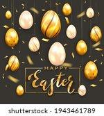 golden lettering happy easter...   Shutterstock . vector #1943461789