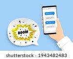 boom sale sticker. hand holding ...