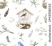 Watercolor Birds. Birdhouse ...