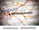 Willimantic. Connecticut. USA on a geography map