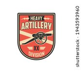 Division of heavy artillery isolated chevron with armored vehicle. Vector battalion of tank tracks, infantry squad with anti-aircraft machine, military training operations, seal on office uniform