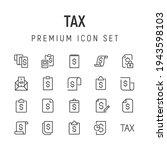 premium pack of tax line icons. ...