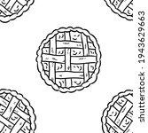 tasty pie doodles seamless... | Shutterstock .eps vector #1943629663