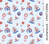 seamless wedding pattern vector ... | Shutterstock .eps vector #1943713006