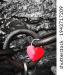 Red Heart Shaped Padlock On A...
