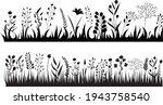 silhouette growing grass plants ... | Shutterstock .eps vector #1943758540