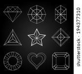 general gem shape icons on dark ... | Shutterstock .eps vector #194377310
