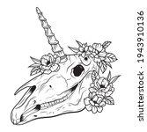 portrait of unicorn skull with... | Shutterstock .eps vector #1943910136