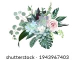 blush pink rose  blue echeveria ... | Shutterstock .eps vector #1943967403